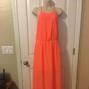 SOCIALITE Flowing Coral Back Detail Maxi Dress Sm
